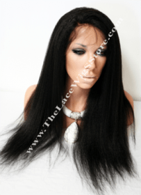 22inch Full Lace Wig Kinky Straight Color Natural Color