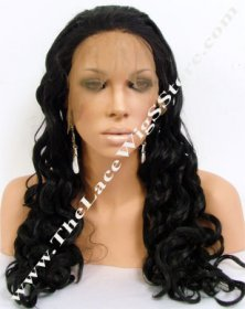 22inch Full Lace Synthetic Wig 25mm Curl Color 1B