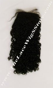 16 Inch Remy Silk Base Curly Closure Natural Black