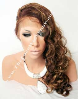 22inch Full Lace Synthetic Wig Curly Color 4 by 27 by 30 Mixed