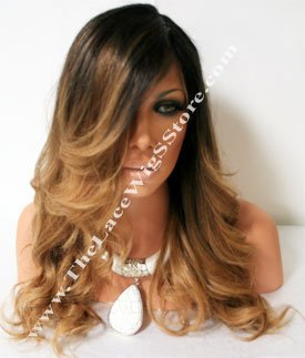 18inch-Full-Lace-Wig-With-Black-Roots-And-Dark-Blond-Ends