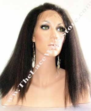 "Lace Front 14"" Kinky Straight Color #1B/#4 Highlight"