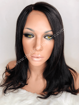 16inch European Virgin Silicone Glueless Lace Wig Natural Color